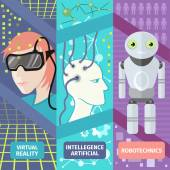 Artificial intelligence, reality virtual and robotechnics — Stock Vector