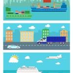 Shipping, delivery car, ship, plane — Stock Vector #68145649
