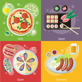 Italy, Japan, Spain and Germany food — Stock Vector