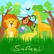 Cute african safari animals — Vector de stock  #68150847