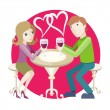 Date at restaurant — Stock Vector #68150941