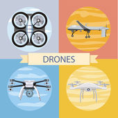 Set of different quadrocopters icons — Stock Vector