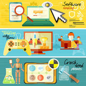 Software testing, games and crash test — Stock Vector
