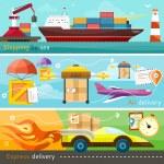 Shipping, delivery car, ship, plane — Stock Vector #68350837