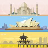 Australian, China and India — Stock Vector