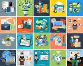 Набор бизнес-концепций на баннеры — Cтоковый вектор