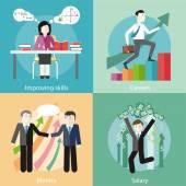 Improving Skills, Careers, Mentor, Salary — Stock Vector