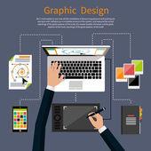 Графический дизайн и дизайнерское понятие инструментов — Cтоковый вектор