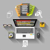 Financier workplace flat design concept — Stock Vector