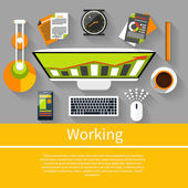 Working place witn equipment — Stock Vector