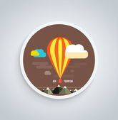 Hot Air Balloon Flying Over Mountain Round Banner — Stok Vektör