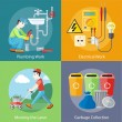 Electrical, Plumbing Work, Mowing Lawn and Garbage — Stock Vector #71511095