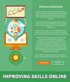 Improving Skills Online Concept — Stock Vector