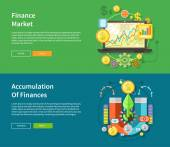 Finance Market and Accumulation of Finances — Stock Vector