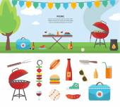 Banner and Icons of Picnic Items. Holiday Concept — Stock Vector