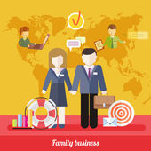 Balance Between Business Work and Family Life — Stock Vector