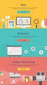 Seo Optimization, Web Analytics, Video Marketing — Stock Vector