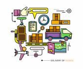 Delivery Service Aviation, Customs, Transport — Vecteur