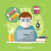 Freelancer, Copywriter, Journalist at Computer — Stock Vector
