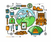 Mountains with Snow Peaks and Tourist Equipment — Stock Vector