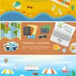 Beach Holidays in Flat Design Detailed Web Banners — Stock Vector #77813460