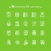 Set of White Education Icons on Green Background — Vettoriale Stock