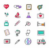 Set of Outline Medicine Icons — Stock Vector
