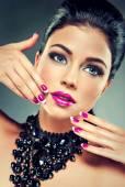 Model with fashionable nail polish — Foto de Stock