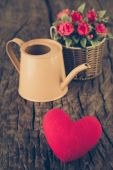 Valentines Day background with hearts and flower (vintage filter — Stock Photo