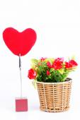 Flowers and heart — Stock Photo
