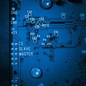Modern blue circuit harddisk board — Stock Photo