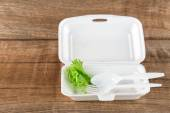 Foam boxes with scraps left over from eating — Stock Photo
