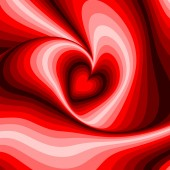 Design heart whirl rotation illusion background — Stock Vector