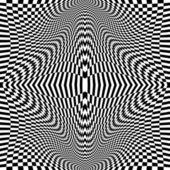 Design monochrome movement illusion checkered background — Stock Vector