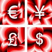 Design currency icons set. Euro, yen, pound, dollar — Stock Vector