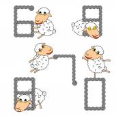 Design numbers set with funny cartoon sheep — Stock Vector