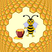 A cute cartoon bee with a honey pot surrounded by honeycombs — Vector de stock