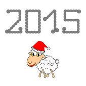 A funny Christmas cartoon sheep — Vetorial Stock