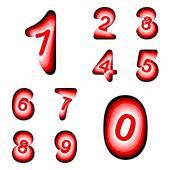 Design numbers set. Colorful waving line textured font — Vettoriale Stock
