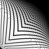 Design monochrome warped grid backdrop — Stock Vector