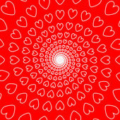 Design red heart spiral movement background — Stock Vector