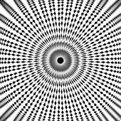 Design monochrome circle movement illusion background — Stock Vector