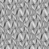 Design seamless monochrome warped grid wave pattern — Vector de stock