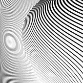 Design monochrome lines movement illusion background — Stock Vector