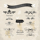 Wedding Vintage Invitation Collection — Stock Vector