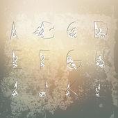 Elegant Floral Alphabet — Stock Vector