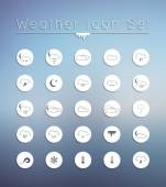 Weather Icons on blurred background. — Stock Vector