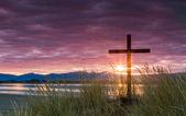 Salvation Dawn Sun Cross — Stock Photo