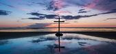Centre Sunset Beach Cross. — Stock Photo
