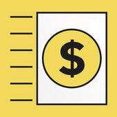 Simple icon for sending money via invoice — Stock Vector